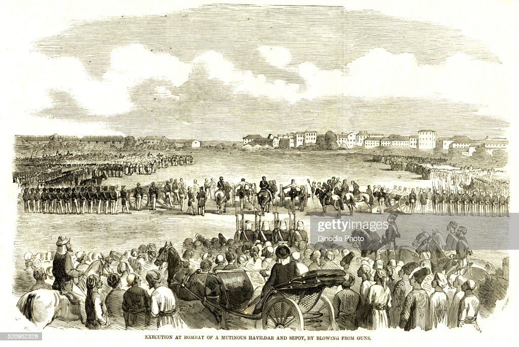 Execution at Bombay Mutinous Havildar Sepoy by blowing from guns, 28th November 1857, Bombay now Mumbai, Maharashtra : Stock Photo