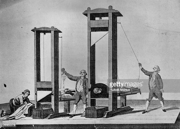 Execution by guillotine in Paris during the French Revolution