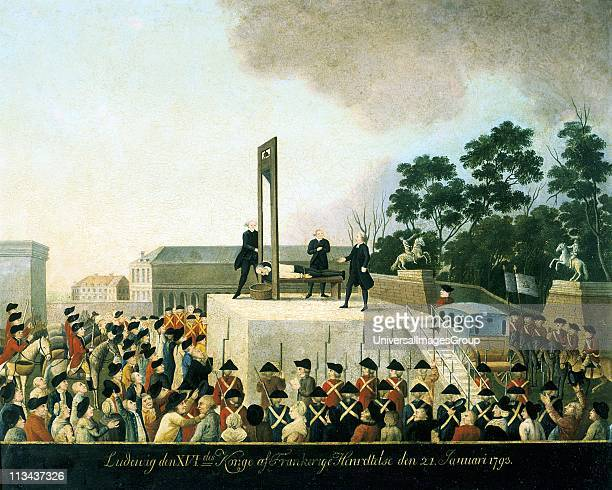 Execution by guillotine of Louis XVI of France 21 January 1793 Louis lying bound on guillotine waiting for blade to fall and decapitate him Basket...