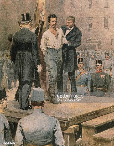 Execution of Cesare Battisti in Trento Illustrator Achille Beltrame from La Domenica del Corriere July 1916