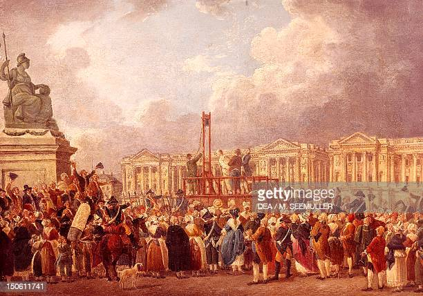 Execution of Louis XVI on the Place de Republique 1793 painting from Pierre de Machy's studio French Revolution France 18th century