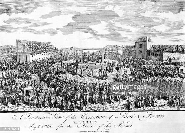 Execution of the Earl of Ferrers at Tyburn Paddington London 1760 The Earl is is the process of being hanged and being watched by a large crowd which...