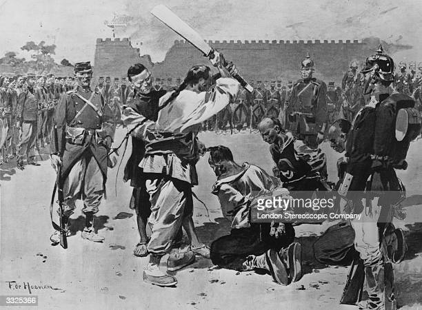 Execution of three anti foreign officials in Paotingfu during the Boxer Rebellion Original Publication The Graphic Boxer Rising pub 1901 Original...