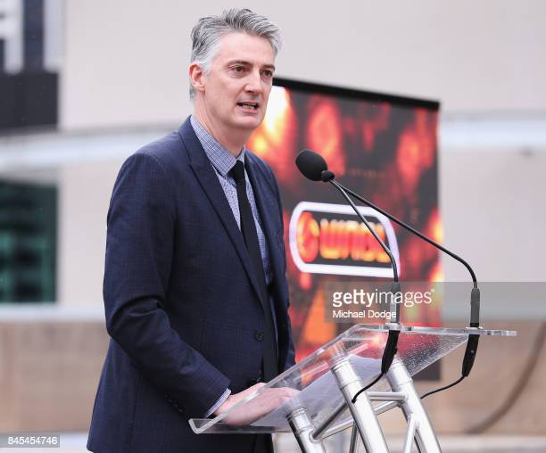 Executive Anthony Moore from Basketball Australia speaks during the 2017/18 NBL and WNBL Season Launch at Crown Towers on September 11 2017 in...