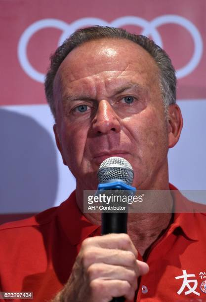Executive board chairman of FC Bayern KarlHeinz Rummenigge attends a press conference in Singapore on July 27 2017 during the International Champions...