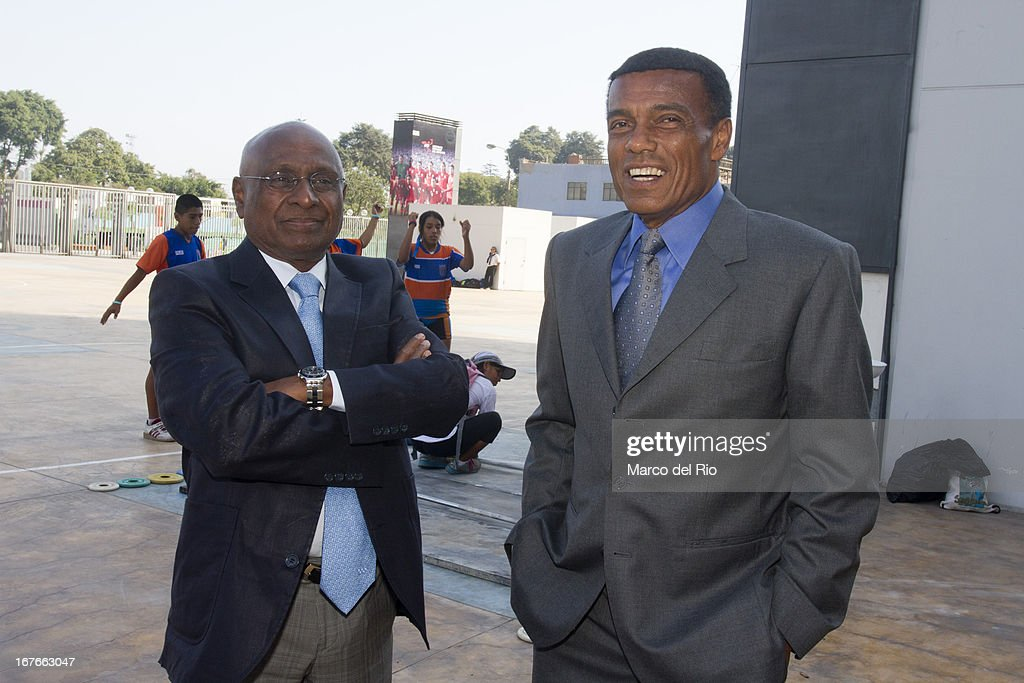 Executive Board member Sam Ramsamy and former football player <a gi-track='captionPersonalityLinkClicked' href=/galleries/search?phrase=Teofilo+Cubillas&family=editorial&specificpeople=2616760 ng-click='$event.stopPropagation()'>Teofilo Cubillas</a> during the Opening Ceremony of the Olympic Museum at the National Stadium of Lima as part of the third day of the 15th IOC World Conference Sports For All on April 26, 2013 in Lima, Peru.