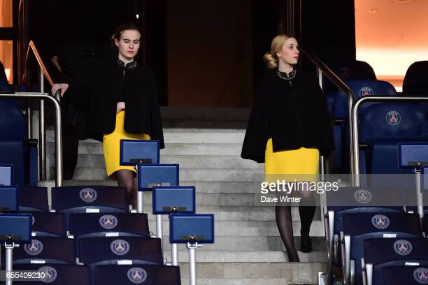 Executive box hostesses during the French Ligue 1 match between Paris Saint Germain and Lyon at Parc des Princes on March 19 2017 in Paris France