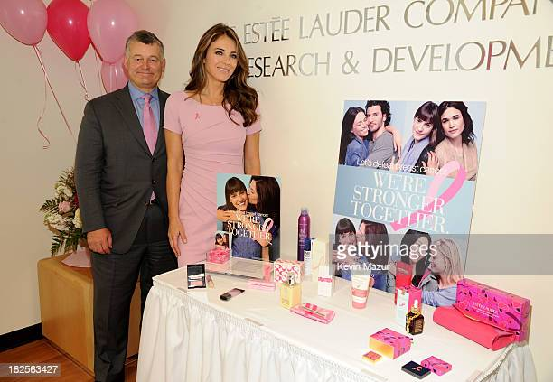 Executive Chairman and Chairman of The Estee Lauder Companies William P Lauder and Elizabeth Hurley attend The EsteŽe Lauder Companies launch of The...