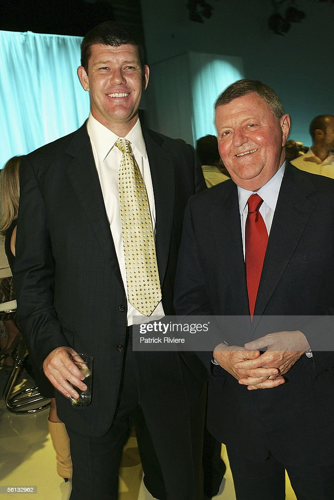 Executive Chairman James Packer (L) and Director on the board of PBL Sam Chisholm attend the launch of the 2006 Channel Nine programs in their studios November 10, 2005 in Sydney, Australia.