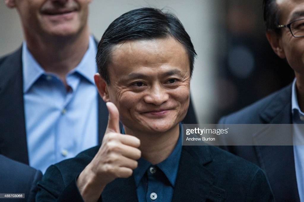 Executive Chairman of Alibaba Group <a gi-track='captionPersonalityLinkClicked' href=/galleries/search?phrase=Jack+Ma&family=editorial&specificpeople=2110288 ng-click='$event.stopPropagation()'>Jack Ma</a> poses for a photo outside the New York Stock Exchange prior to the company's initial price offering (IPO) on September 19, 2014 in New York City. The New York Times reported yesterday that Alibaba had raised $21.8 Billion in their initial public offering so far.