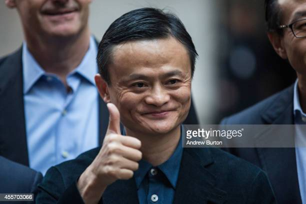 Executive Chairman of Alibaba Group Jack Ma poses for a photo outside the New York Stock Exchange prior to the company's initial price offering on...