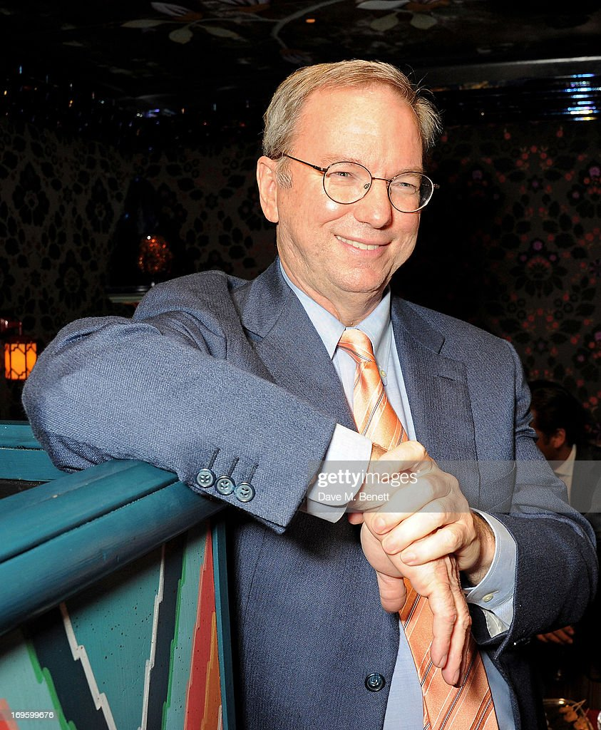Executive Chairman of Google Eric Schmidt attends the launch of 'The New Digital Age: Reshaping The Future Of People, Nations and Business' by Eric Schmidt and Jared Cohen, hosted by Jamie Reuben, at Loulou's on May 28, 2013 in London, England.