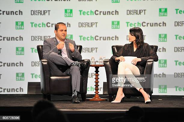 Executive Chairman of Hyperloop One Shervin Pishevar and moderator Connie Loizos speak onstage during TechCrunch Disrupt SF 2016 at Pier 48 on...