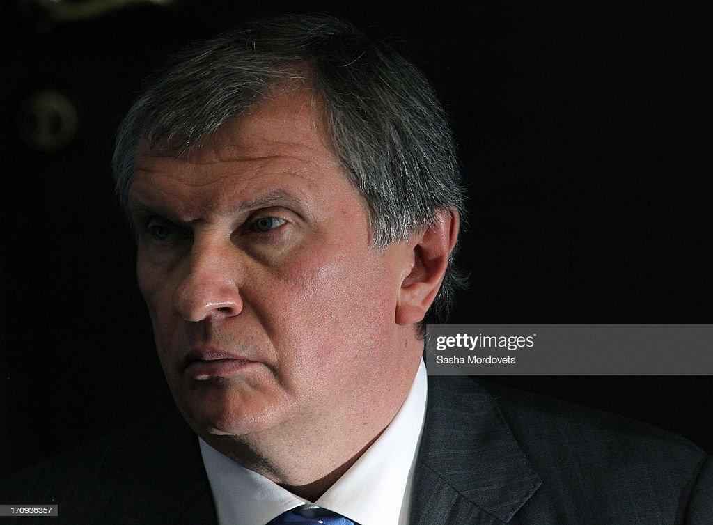 Executive Chairman of Rosneft <a gi-track='captionPersonalityLinkClicked' href=/galleries/search?phrase=Igor+Sechin&family=editorial&specificpeople=756791 ng-click='$event.stopPropagation()'>Igor Sechin</a> attends the Saint Petersburg Economic Forum on June 20, 2013 in Saint Petersburg, Russia. Russian President Vladimir Putin is to give the keynote speech tomorrow and meet with German Chancellor Angela Merkel and Dutch Prime Minister Mark Rutte at the three-day forum attended by business leaders.