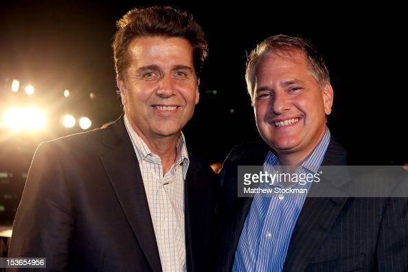 Executive Chairman President Brad Drewett and ATP Board member Charles Smith pose for photographers during a reception for the Shanghai Rolex Masters...