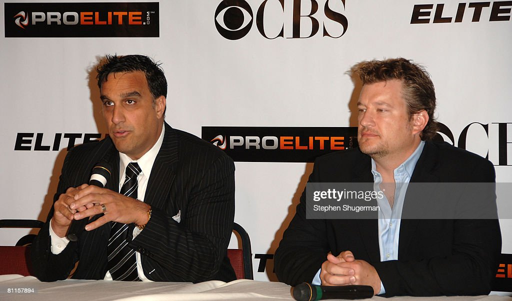 Executive Chairman ProElite Doug DeLuca and Sr. Executive VP, CBS Primetime Kelly Kahl attend CBS's 'Elite XC Saturday Night Fights' Press Conference at CBS Radford Studios on May 19, 2008 in Studio City, California.