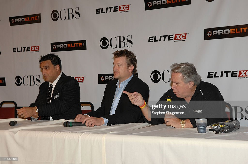 Executive Chairman ProElite Doug DeLuca, Sr. Executive VP, CBS Primetime Kelly Kahl and Live Events President, Elite XC Gary Shaw attend CBS's 'Elite XC Saturday Night Fights' Press Conference at CBS Radford Studios on May 19, 2008 in Studio City, California.