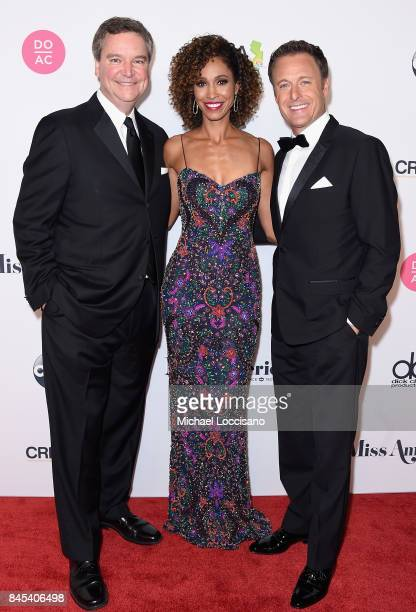 Executive Chairman Sam Haskell III Host Sage Steele and Host Chris Harrison attend the 2018 Miss America Competition Red Carpet at Boardwalk Hall...