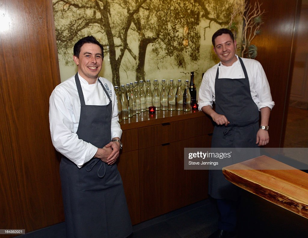 Executive Chef at the Ritz Carlton Nathan Beriau and Executive Chef at Parallel 37 Michael Rotondo attend the WHOLE WORLD Water launch event at Parallel 37 at The Ritz-Carlton, San Francisco on March 22, 2013 in San Francisco, California.