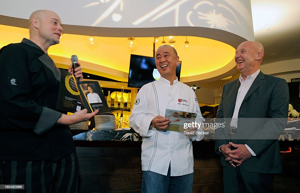 Executive chef of Nobu Restaurant and Lounge Caesers Palace Thomas Buckley, chef Nobu Matsuhisa and CEO of Nobu Hospitality Trevor Horwell appear during a preview for the Nobu Restaurant and Lounge Caesars Palace on February 1, 2013 in Las Vegas, Nevada. The Nobu Hotel Restaurant and Lounge Casears Palace is scheduled to open on February 4.