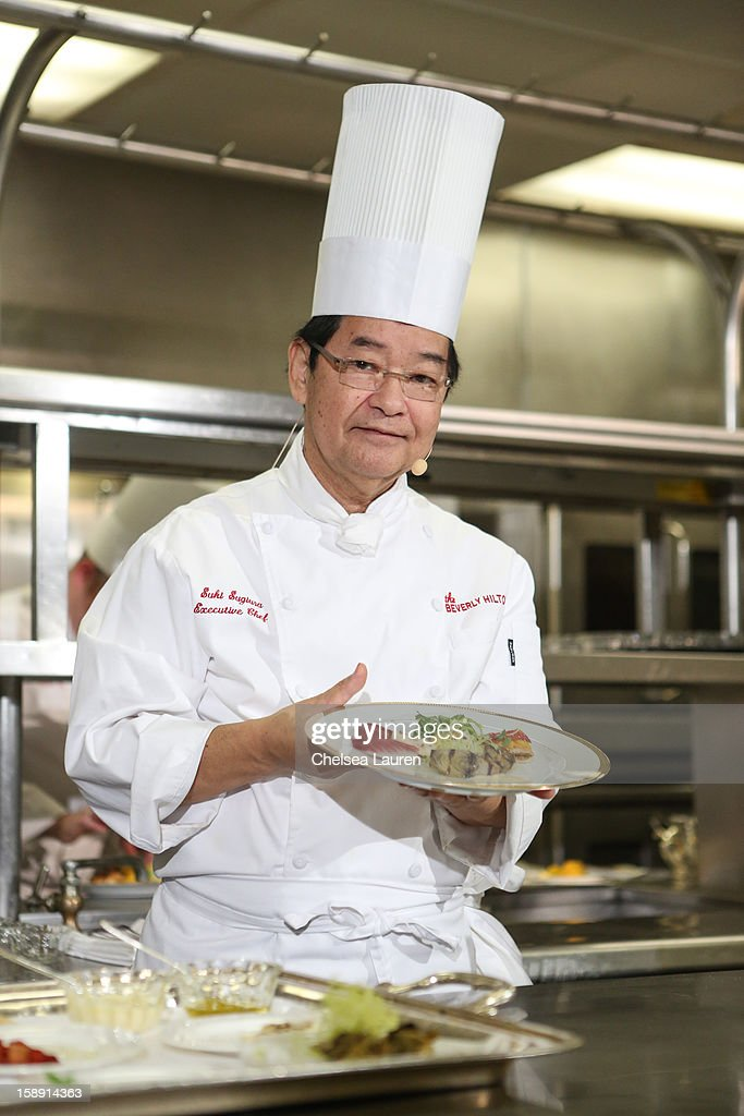 Executive chef Suki Sugiura performs a cooking demonstration to showcase the menu for the 2013 Golden Globe Awards at The Beverly Hilton Hotel on January 3, 2013 in Beverly Hills, California.