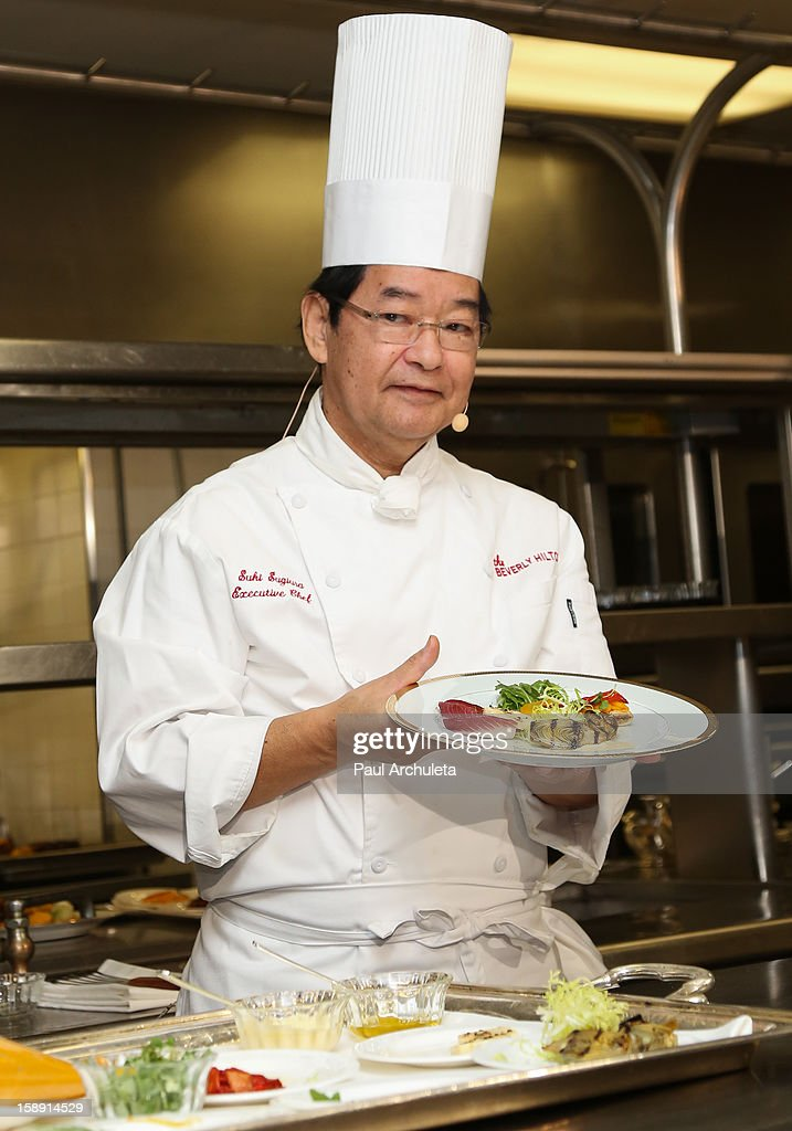 Executive Chef Suki Sugiura presents the Golden Globes menu and table preview at The Beverly Hilton Hotel on January 3, 2013 in Beverly Hills, California.