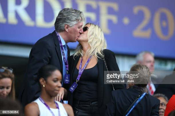 Executive Committee member John Delaney greets wife Emma English with a kiss during the UEFA Women's Champions League Final match between Lyon and...