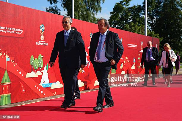 FIFA Executive Committee Member Sheikh Salman Bin Ebrahim Al Khalifa of Bahrain and President of UEFA Michel Platini attend the Preliminary Draw of...