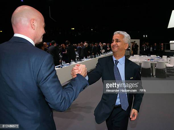 Executive Committee member Sunil Gulati of USA congratulates Gianni Infantino after he was elected as the new FIFA President during the Extraordinary...