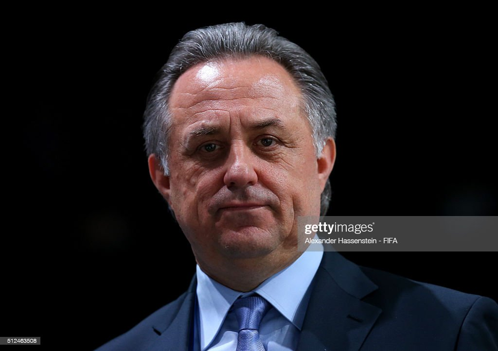 Executive Committee member <a gi-track='captionPersonalityLinkClicked' href=/galleries/search?phrase=Vitaly+Mutko&family=editorial&specificpeople=687552 ng-click='$event.stopPropagation()'>Vitaly Mutko</a> of Russia looks on during the Extraordinary FIFA Congress at Hallenstadion on February 26, 2016 in Zurich, Switzerland.