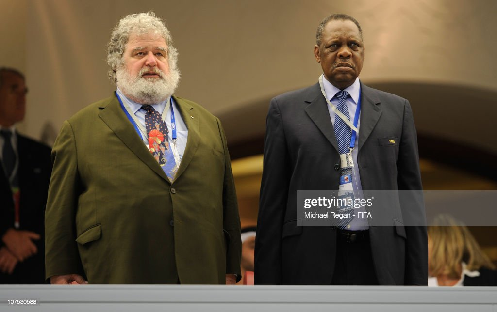 Executive Committee members Issa Hayatou and Chuck Blazer look on before the FIFA Club World Cup match between AlWahda Sports Club and Seongnam Ilhwa...