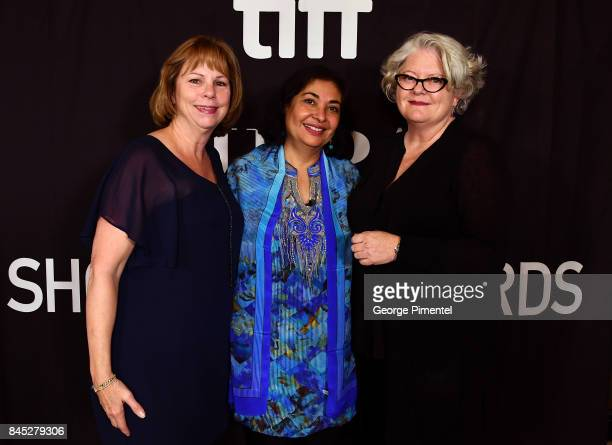 TIFF Executive Director and COO Michele Maheux HFPA President Meher Tatna and SeeThrough Films' Kathleen McInnis present the firstever 'HFPA TIFF...