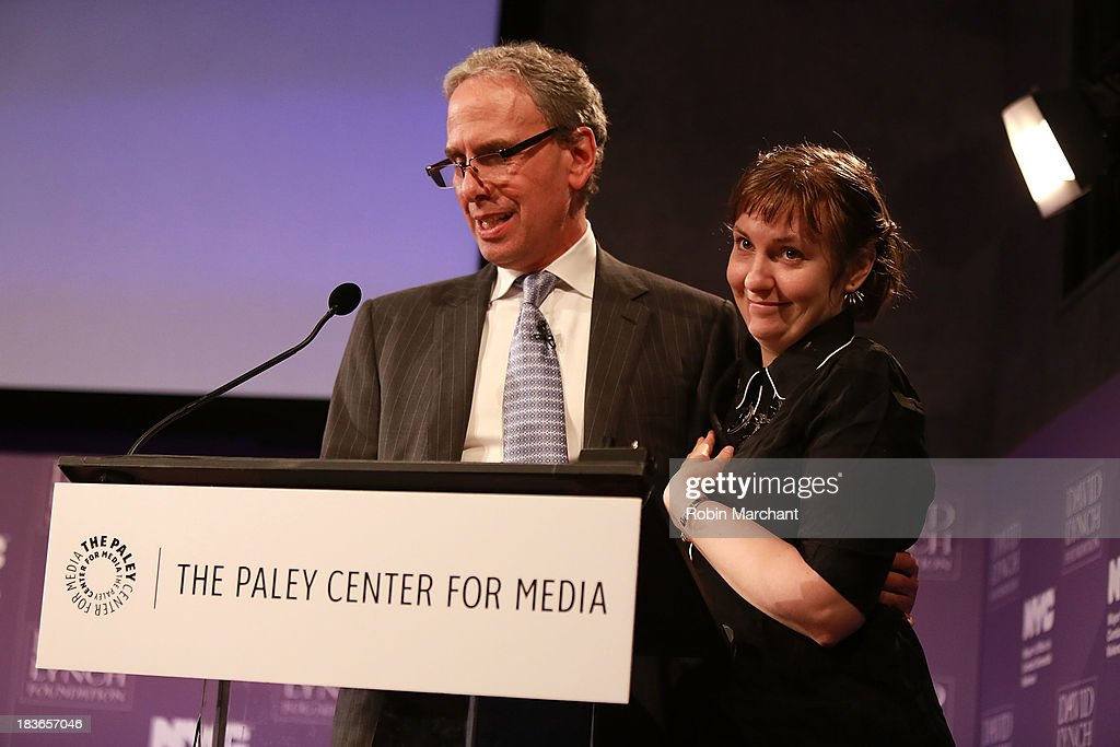 Executive Director at David Lynch Foundation Bob Roth (L) and Actress/ filmmaker Lena Dunham attend Women in the Workplace: Reducing Stress With Meditation at Paley Center For Media on October 8, 2013 in New York City.