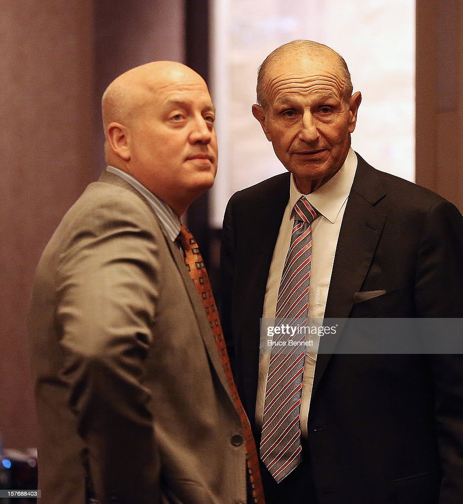 NHL Executive Director Bill Daly of the National Hockey League and Boston Bruins owner Jeremy Jacobs discuss negotiations with the NHL Players Association at the Westin Times Square on December 5, 2012 in New York City.