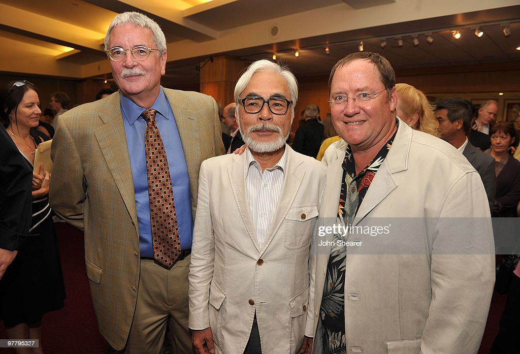 AMPAS executive director Bruce Davis (L) poses with <a gi-track='captionPersonalityLinkClicked' href=/galleries/search?phrase=John+Lasseter&family=editorial&specificpeople=224003 ng-click='$event.stopPropagation()'>John Lasseter</a>, chief creative officer of Pixar and Disney Animation Studios and principal creative advisor of Walt Disney Imagineering, and Japanese film maker <a gi-track='captionPersonalityLinkClicked' href=/galleries/search?phrase=Hayao+Miyazaki&family=editorial&specificpeople=732050 ng-click='$event.stopPropagation()'>Hayao Miyazaki</a> (C) at AMPAS' 14th Annual Marc Davis Celebration of Animation at the AMPAS Samuel Goldwyn Theater on July 28, 2009 in Beverly Hills, California.