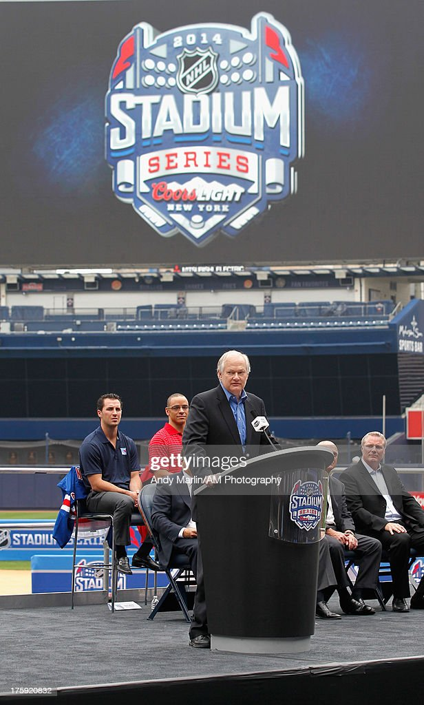 Executive Director Don Fehr addresses the media during the 2014 NHL Stadium Series Media Availabilty at Yankee Stadium on August 8, 2013 in New York City.