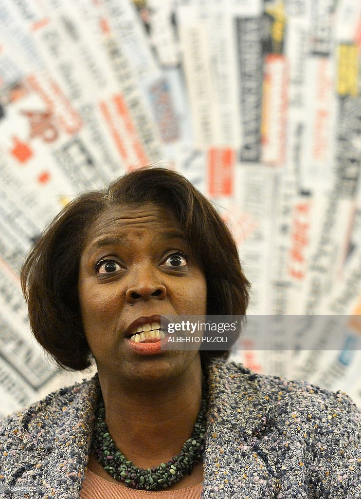 WFP (World Food Program) executive director Ertharin Cousin attendsa press conference at Rome's foreign press association on October 5, 2012.
