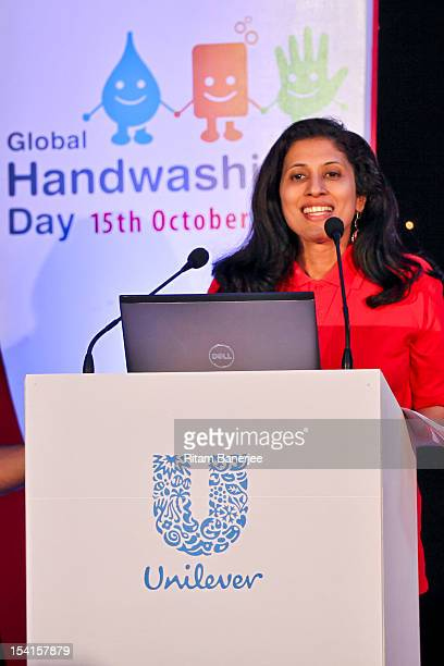 Executive Director HR of Unilever India Leena Nair speaks during Global Handwashing Day at Worli Seaface Mumbai Municipal Corporation School on...