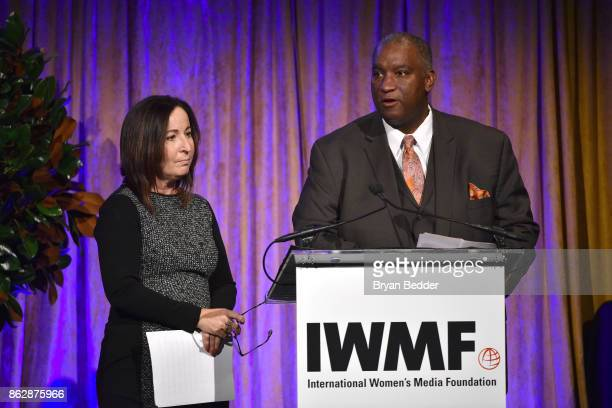 Executive Director IWMF Elisa Lees Munoz and Bryan Monroe speak onstage at The International Women's Media Foundation's 28th Annual Courage In...