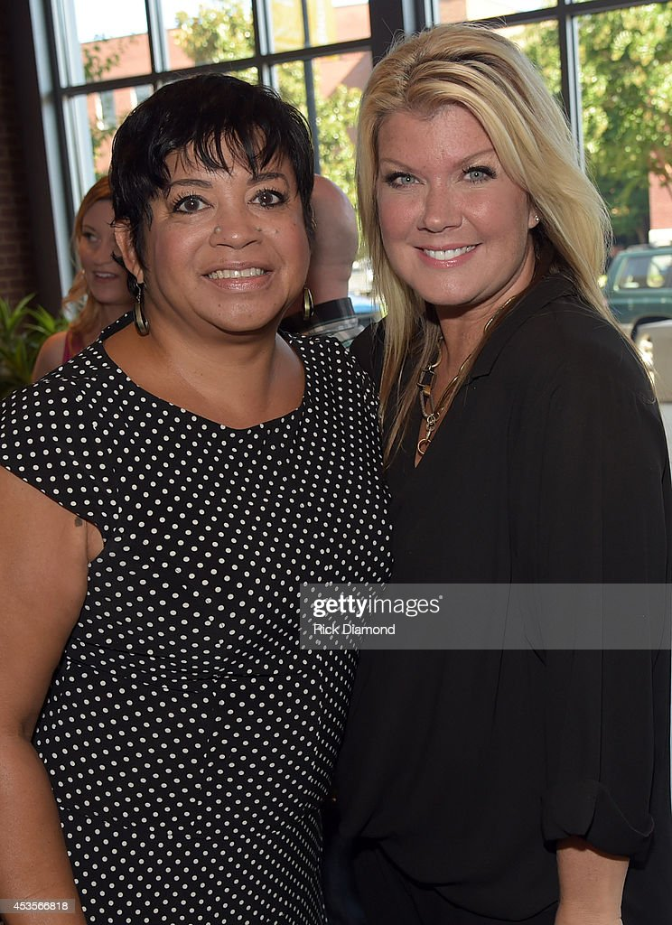 Executive Director Jackie Patillo with Recording Artist, Natalie Grant during the 45th Annual GMA Dove Awards Nominations Press Conference at Allen Arena on Lipscomb University campus, August 13, 2014 in Nashville, Tennessee.