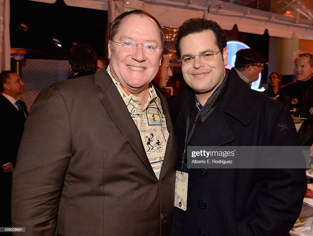 Executive director <a gi-track='captionPersonalityLinkClicked' href=/galleries/search?phrase=John+Lasseter&family=editorial&specificpeople=224003 ng-click='$event.stopPropagation()'>John Lasseter</a> (L) and actor <a gi-track='captionPersonalityLinkClicked' href=/galleries/search?phrase=Josh+Gad&family=editorial&specificpeople=4196023 ng-click='$event.stopPropagation()'>Josh Gad</a> attend the 90 Years of Disney Animation celebration at Walt Disney Studios on December 10, 2013 in Burbank, California.
