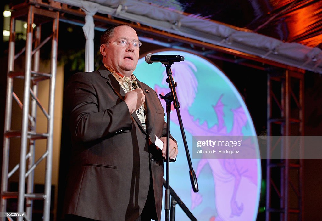 Executive director <a gi-track='captionPersonalityLinkClicked' href=/galleries/search?phrase=John+Lasseter&family=editorial&specificpeople=224003 ng-click='$event.stopPropagation()'>John Lasseter</a> speaks onstage during the 90 Years of Disney Animation celebration at Walt Disney Studios on December 10, 2013 in Burbank, California.