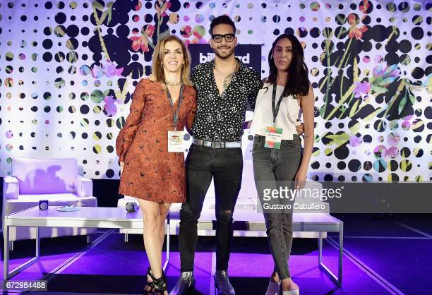 Executive Director of Billboard Leila Cobo Maluma and Griselda Flores attend the Billboard Latin Conference 2017 at Ritz Carlton South Beach on April...