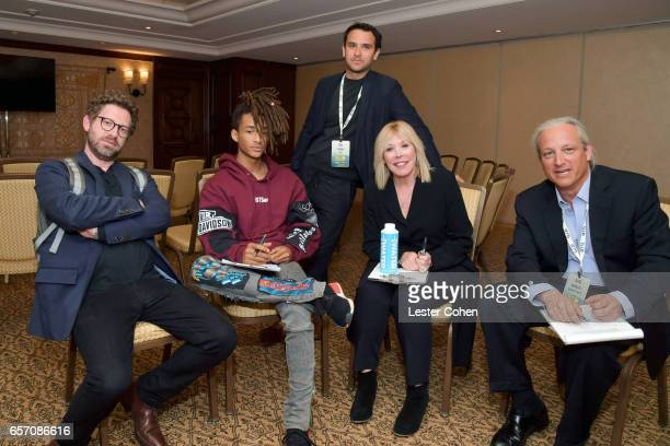 Executive director of Business Development at EMA Asher Levin JUST Water investor and actor Jaden Smith_ President/CEO of EMA Debbie Levin and New...