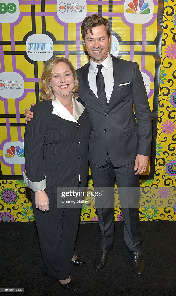Executive Director of Family Equality Council Jennifer Chrisler (L) and actor <a gi-track='captionPersonalityLinkClicked' href=/galleries/search?phrase=Andrew+Rannells&family=editorial&specificpeople=2471329 ng-click='$event.stopPropagation()'>Andrew Rannells</a> attend the Family Equality Council LA Awards Dinner at The Globe Theatre at Universal Studios on February 9, 2013 in Universal City, California.