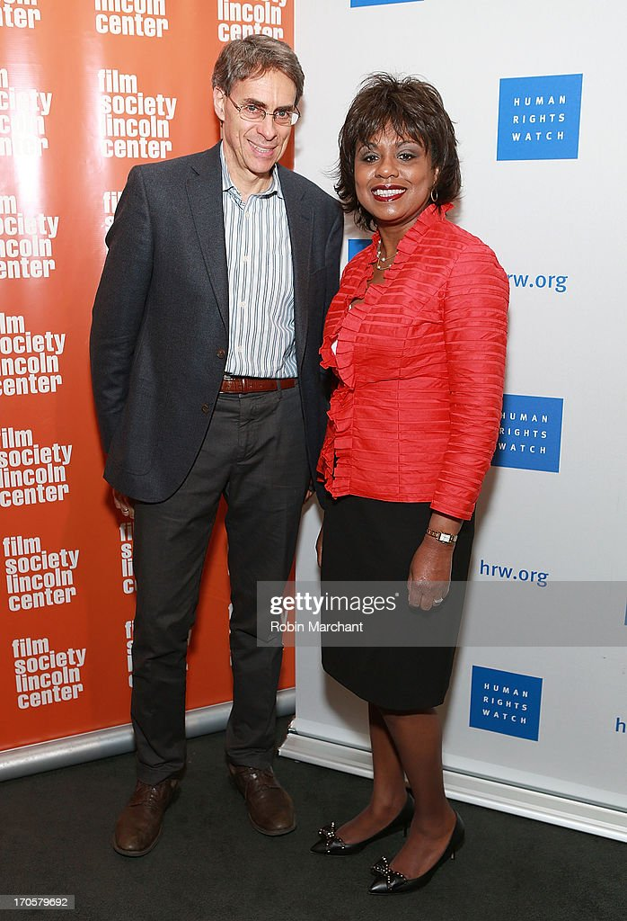 Executive director of Human Rights Watch Kenneth Roth (L) and professor Anita Hill attend the 'Anita' Premiere during the 2013 Human Rights Watch Film Festival at The Film Society of Lincoln Center, Walter Reade Theatre on June 14, 2013 in New York City.