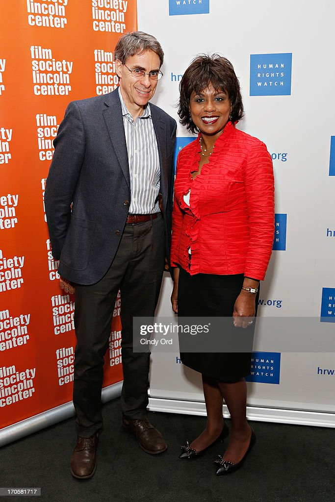 Executive director of Human Rights Watch Kenneth Roth and professor <a gi-track='captionPersonalityLinkClicked' href=/galleries/search?phrase=Anita+Hill&family=editorial&specificpeople=655733 ng-click='$event.stopPropagation()'>Anita Hill</a> attend the 'Anita' Premiere during the 2013 Human Rights Watch Film Festival at The Film Society of Lincoln Center, Walter Reade Theatre on June 14, 2013 in New York City.