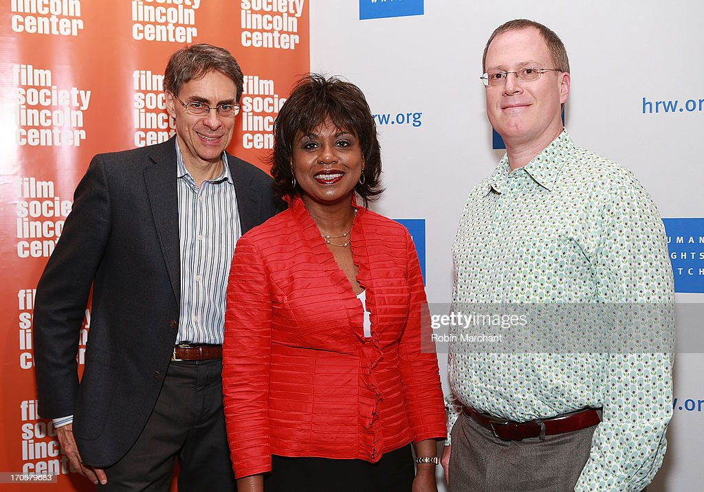Executive director of Human Rights Watch Kenneth Roth, professor <a gi-track='captionPersonalityLinkClicked' href=/galleries/search?phrase=Anita+Hill&family=editorial&specificpeople=655733 ng-click='$event.stopPropagation()'>Anita Hill</a> and Human Rights Watch Film Festival director John Biaggi attend the 'Anita' Premiere during the 2013 Human Rights Watch Film Festival at The Film Society of Lincoln Center, Walter Reade Theatre on June 14, 2013 in New York City.