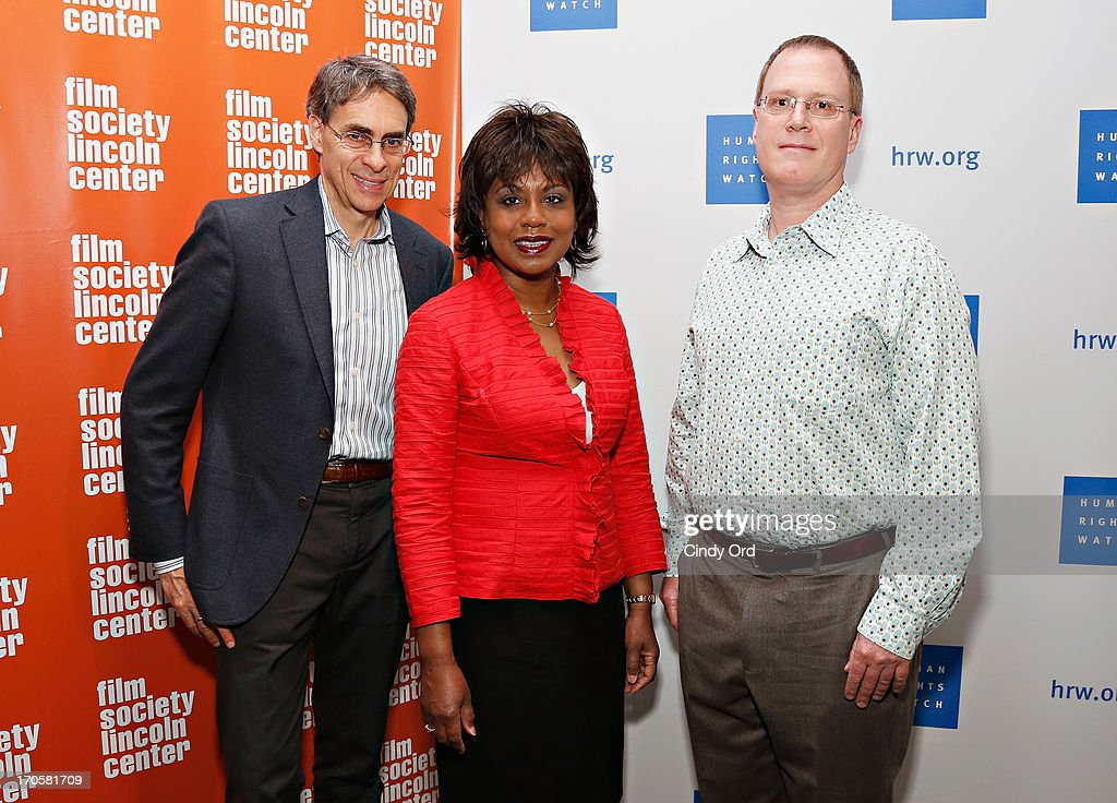 Executive director of Human Rights Watch Kenneth Roth, professor Anita Hill and Human Rights Watch Film Festival director John Biaggi attend the 'Anita' Premiere during the 2013 Human Rights Watch Film Festival at The Film Society of Lincoln Center, Walter Reade Theatre on June 14, 2013 in New York City.