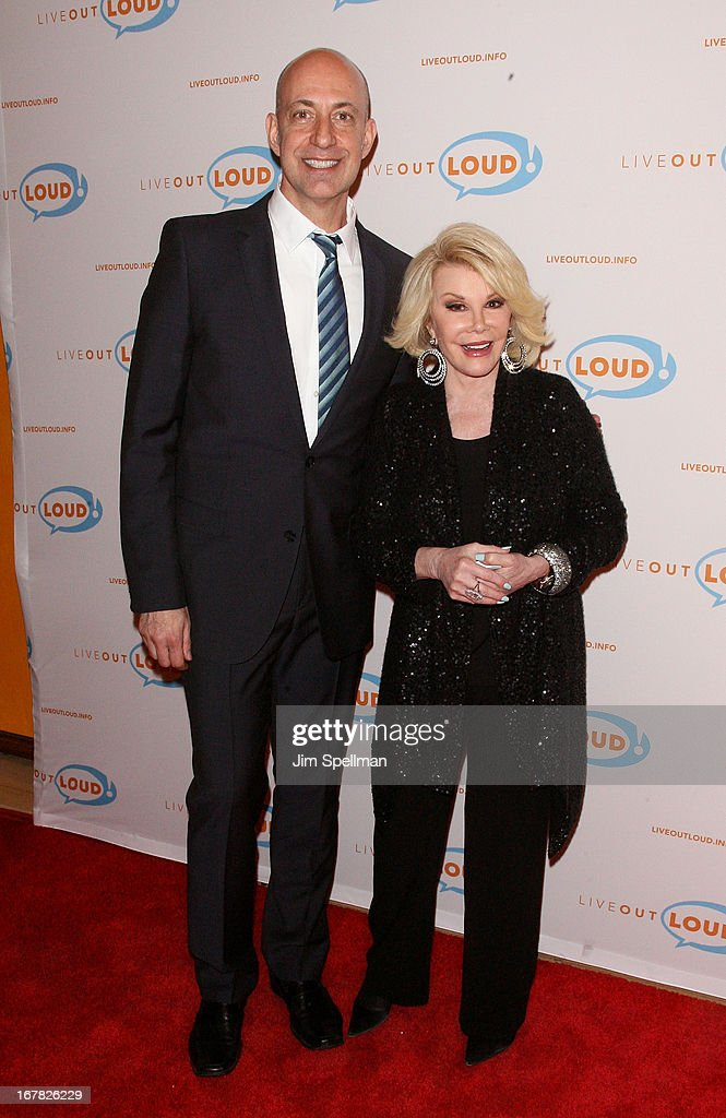 Executive Director of Live Out Loud Leo Preziosi and tv personality <a gi-track='captionPersonalityLinkClicked' href=/galleries/search?phrase=Joan+Rivers&family=editorial&specificpeople=159403 ng-click='$event.stopPropagation()'>Joan Rivers</a> attend the 12th Annual Live Out Loud Gala at TheTimesCenter on April 30, 2013 in New York City.